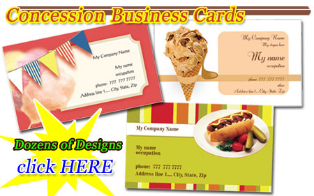 Concession Business Cards Designs for sale
