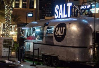 food truck in a silver, metallic vinyl wrap