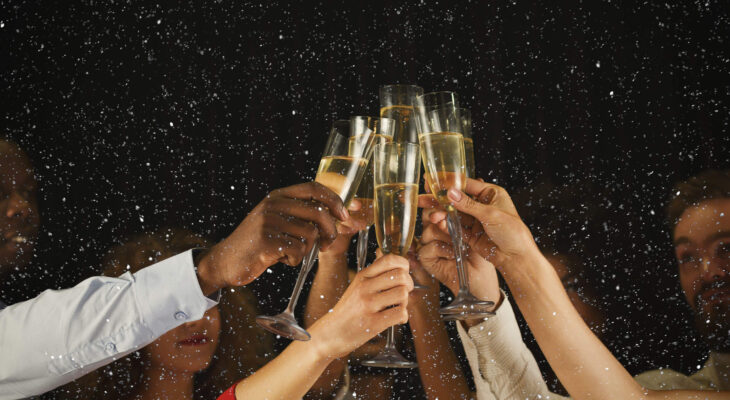 group of people toast for new year