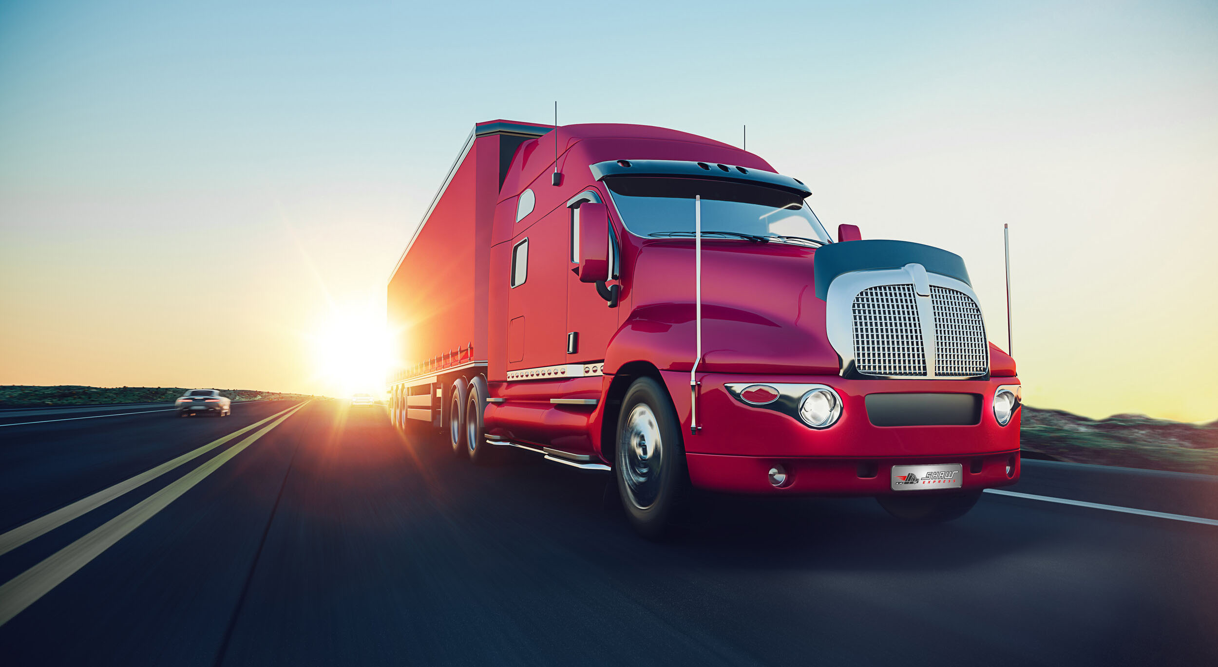 red sleeper truck on the road during sunrise