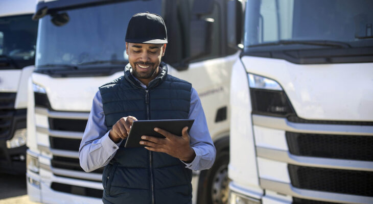 truck driver using a tablet