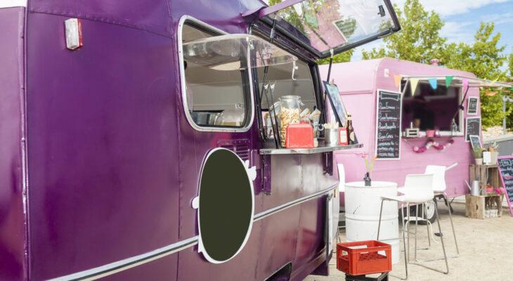 attractive purple-colored food truck