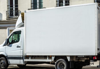 white trailer truck with copy space for advertising