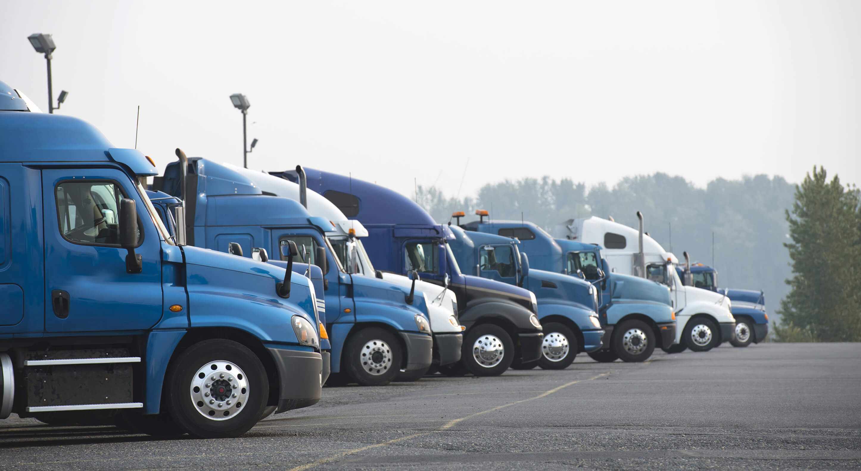 row of blue semi truck for sale at a parking lot