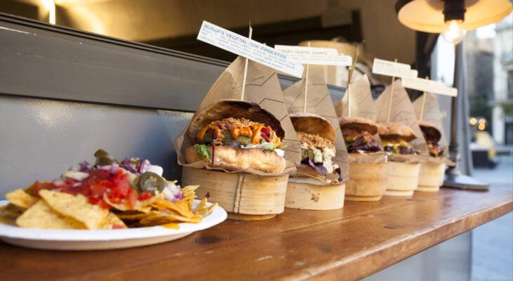 vegan hamburgers displayed in a vegan food truck