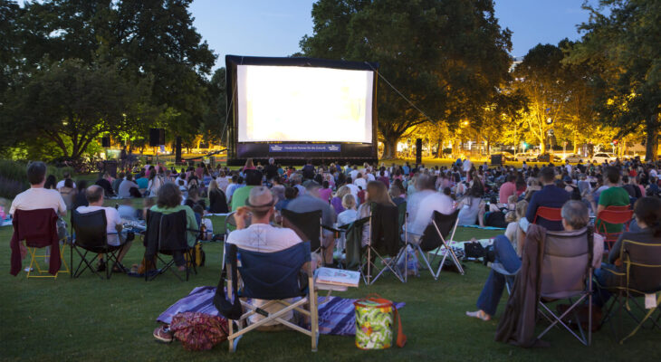 spectators sitting on the grass while watching a movie at an outdoor cinema