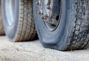 flat tire on a semi trailer
