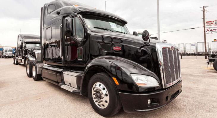 Peterbilt 587 semi trailer truck at the dealership