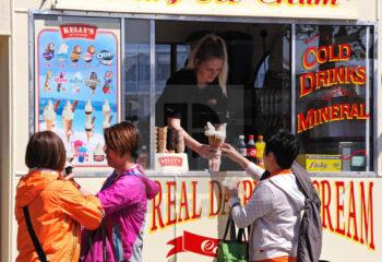 tourists buying ice cream from an ice cream van