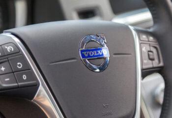 steering wheel on a volvo semi truck cockpit