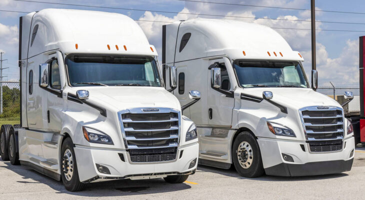 two white Freightliner sleeper trucks lined up for sale