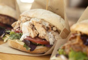 veggie chicken sandwich at a food truck