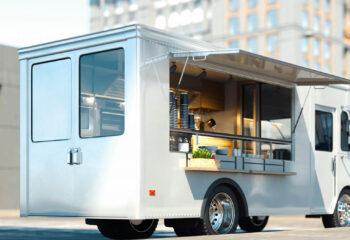 white step van used as a food truck