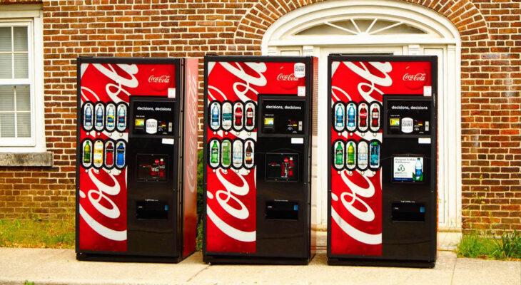 three coke vending