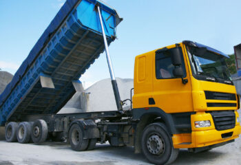 yellow dump truck in a quarry