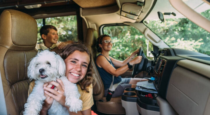 Family on RV Road Trip during summer vacation