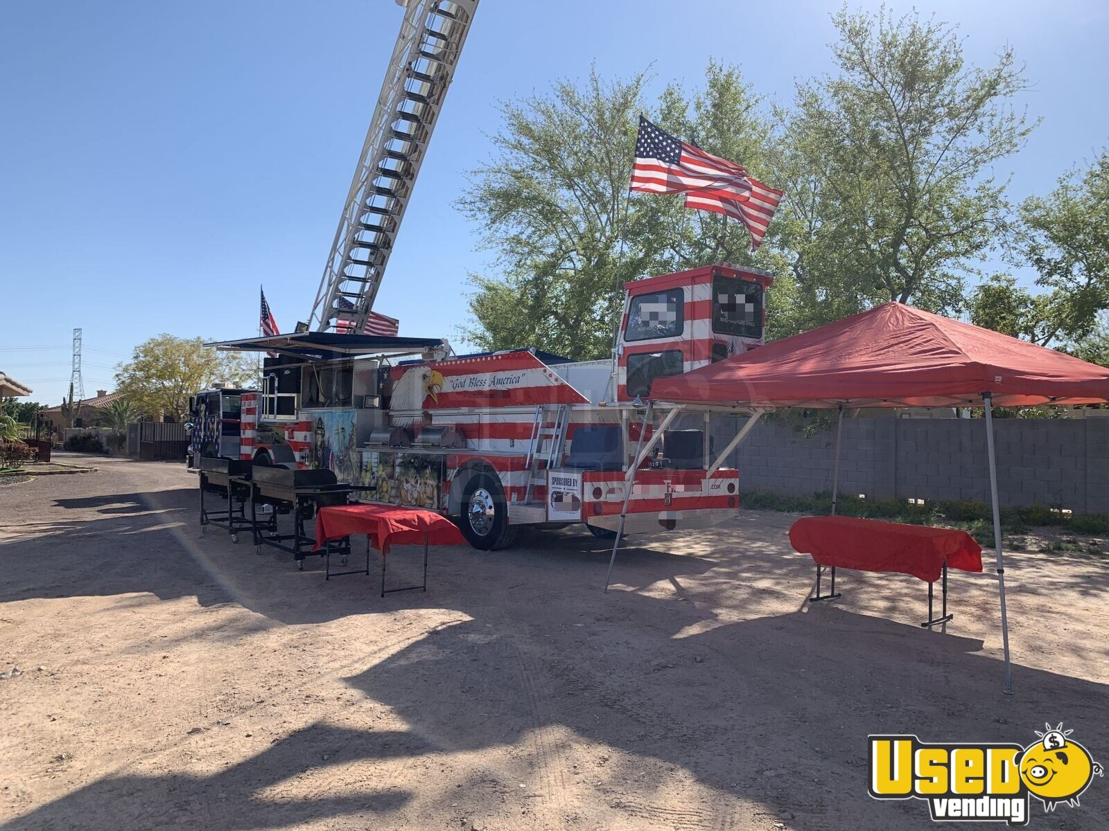 1986 Hahn Ladder Tiller Barbecue Food Truck Stainless Steel Wall Covers Arizona Diesel Engine for Sale - 2