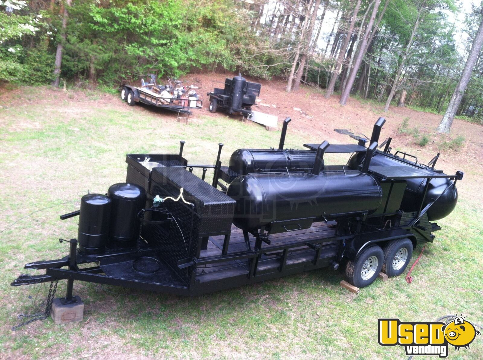 2004 Custom Made Open Bbq Smoker Trailer Work Table Georgia for Sale - 2
