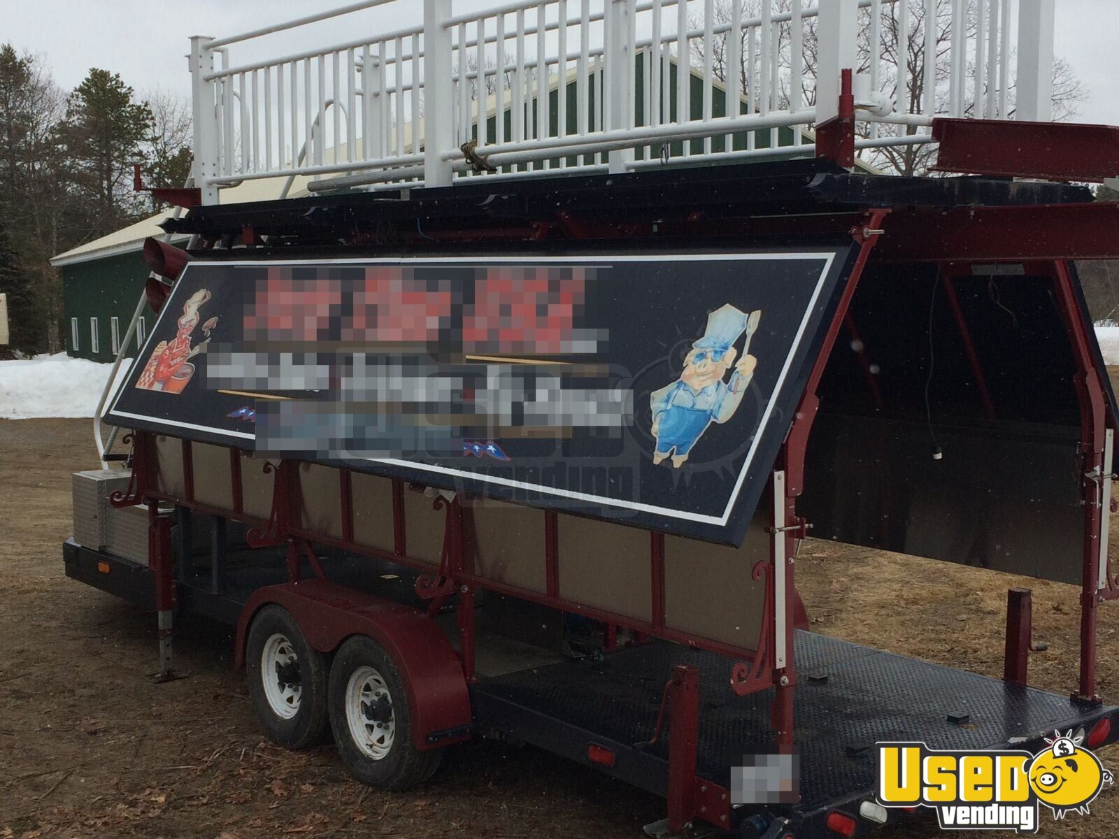 2008 Custom Barbecue Food Trailer Diamond Plated Aluminum Flooring New Hampshire for Sale - 4