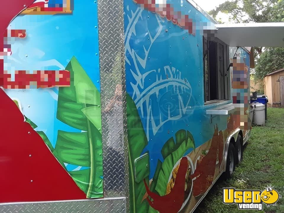 2014 Kitchen Food Trailer Diamond Plated Aluminum Flooring Florida for Sale - 3