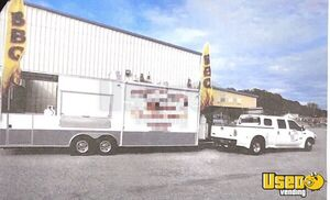 2015 - 8.5' x 26' V-Nose BBQ Food Trailer with Porch and Bathroom + Truck for Sale in Alabama!