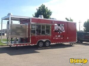 Custom-Built 2014 8.5' x 30' Worldwide Barbecue Concession Trailer w/ a 6' Porch for Sale in Idaho!