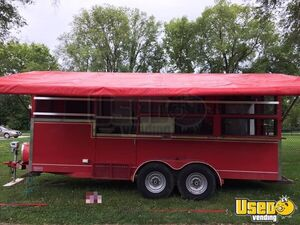 8' x 18' Barbecue Concession Trailer BBQ Pit Smoker Rig with Awning for Sale in Iowa!