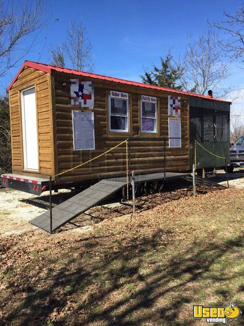 8.5' x 25' Log Cabin BBQ Concession Trailer with Porch  for Sale in Missouri!!!