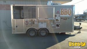 2015  - 8' x 16' BBQ Concession Trailer with Porch and Pit for Sale in Texas!!!