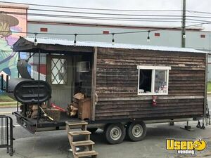 Log Cabin 8.5' x 19' BBQ Concession Trailer with Porch / Used Barbecue Pit for Sale in Virginia!