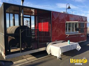 Fully Inspected 2013 30' BBQ Food Trailer with Porch/Used Commercial BBQ Pit for Sale in Washington!