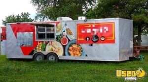 8' x 24' Kitchen and Catering Food Trailer with Pro-Fire Suppression for Sale in Arkansas!