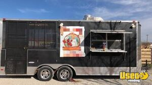 Used 2014 8.5' x 14' Food Concession Trailer with Screened Porch for Sale in Texas!