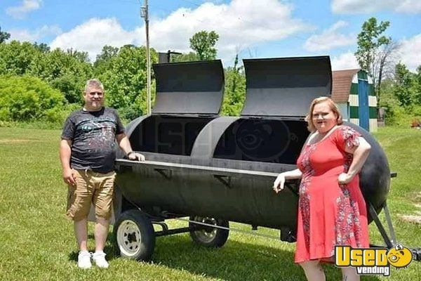 Custom-Made 13' Industrial Stainless Steel Reversed Flow Smoker/Mobile BBQ Pit  for Sale in Indiana!