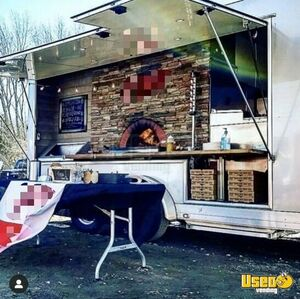 Spotless 2016 ATC 7' x 16' Wood-Fired Pizza Concession Trailer for Sale in Rhode Island!