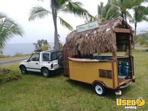 One of a Kind Tiki Hut Style Shaved Ice Concession Trailer / Eye-Catching Snowball Stand for Sale in Hawaii!