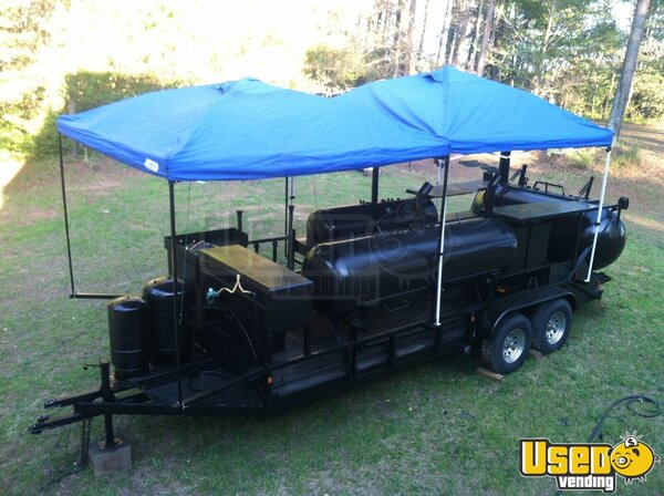 Triple Bbq Smoker Grill Concession Trailer For Sale In