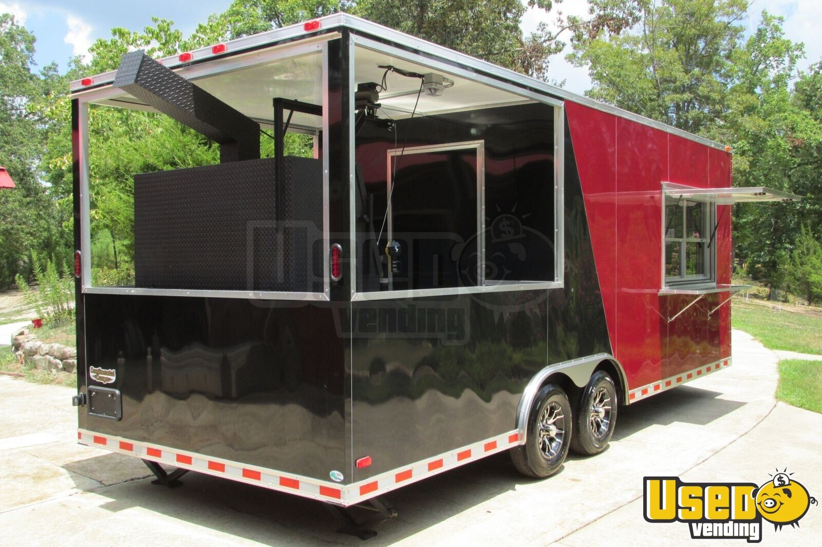 2015 - 22' x 8.5' Custom Built BBQ Porch Concession Trailer - 4