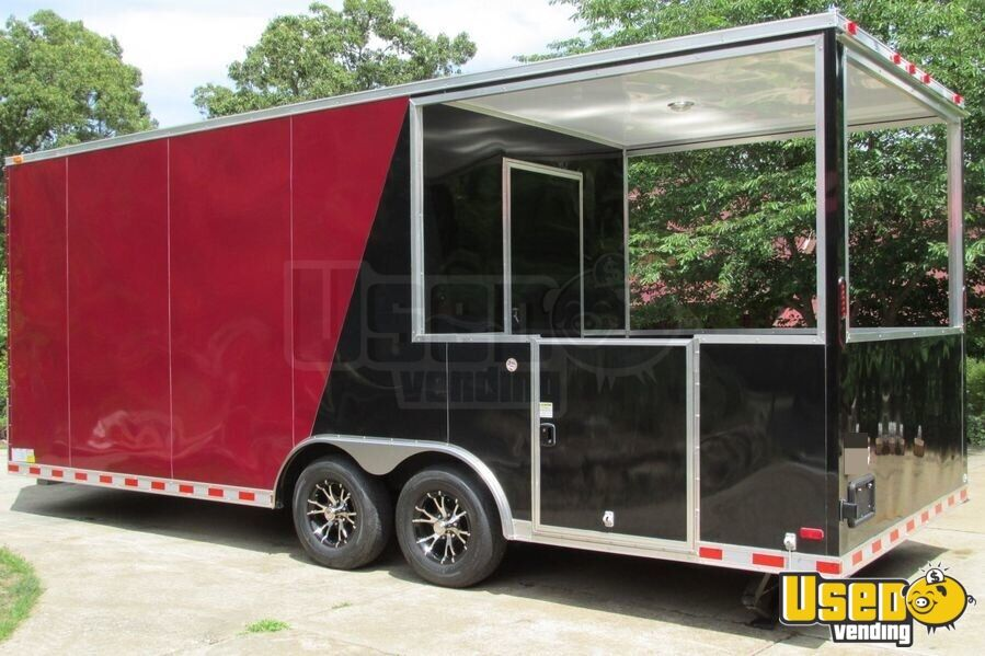 2015 - 22' x 8.5' Custom Built BBQ Porch Concession Trailer - 5
