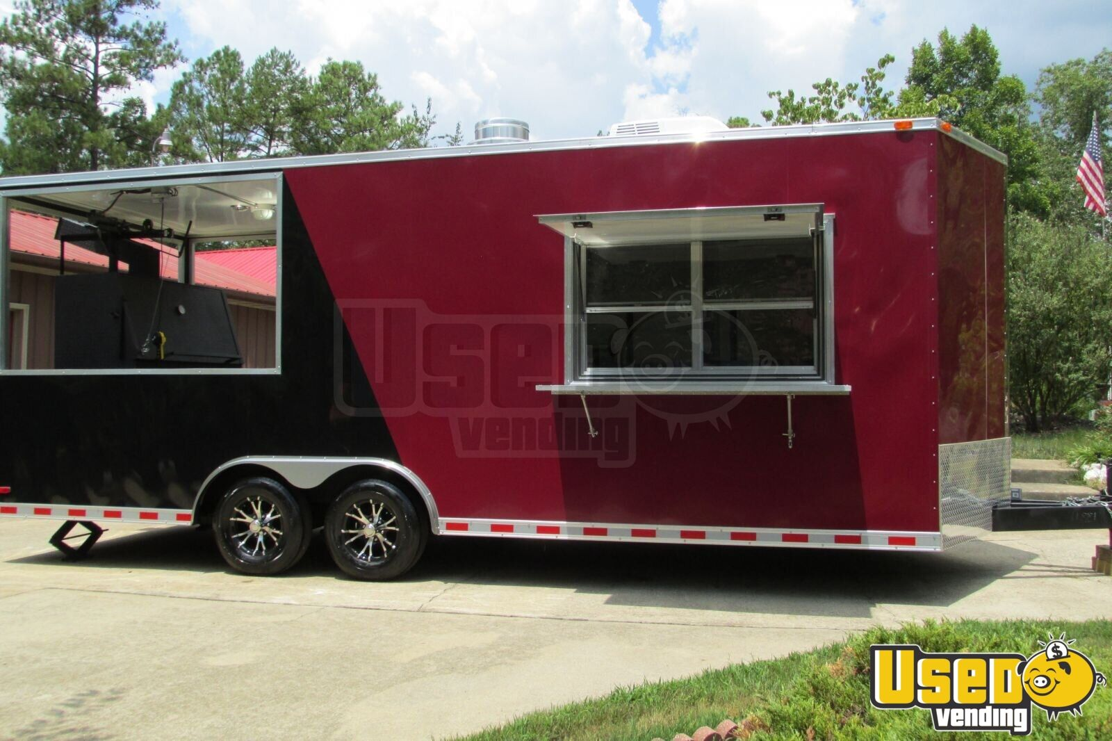 2015 - 22' x 8.5' Custom Built BBQ Porch Concession Trailer - 2