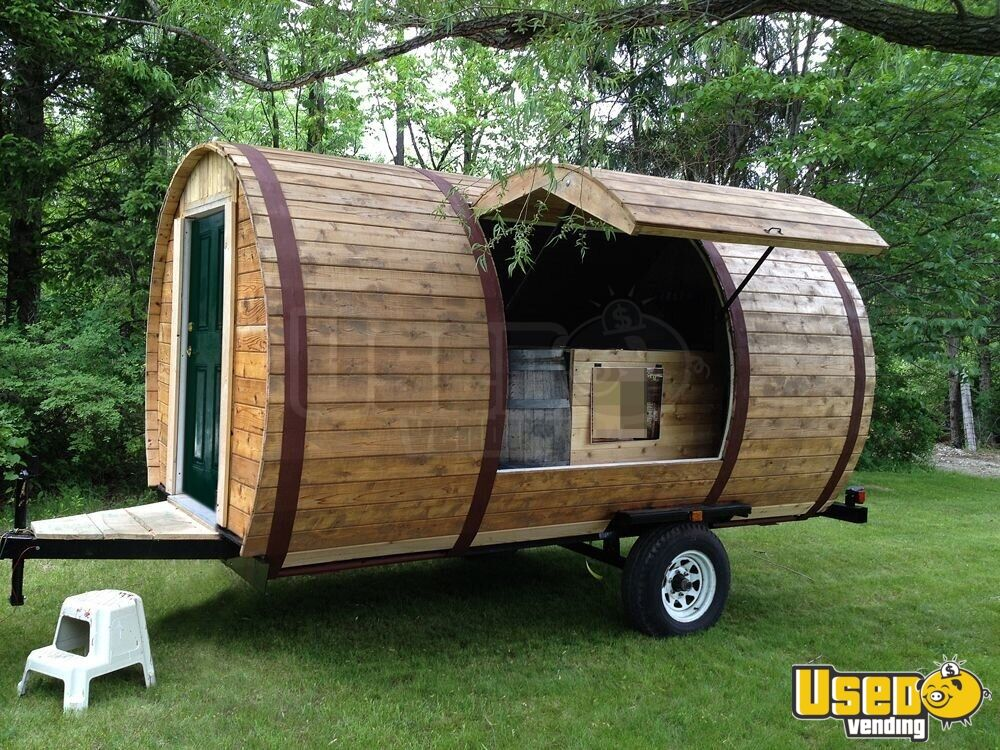 8 5 X 18 Handmade Wooden Barrel Concession Trailer For