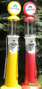 (13) - 2001 Antique Style 7 Foot Tall Gas Pumper Bulk Gumball / Candy Vending Machine with Customizable Logos!!!